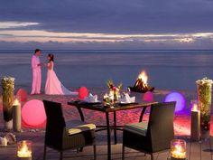 Bride & Groom wedding sunset, Sugar Beach, Mauritius