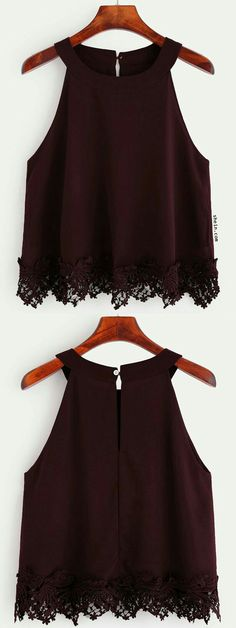 Burgundy Crochet Trim Chiffon Halter Neck Top, this is só girly and so cute i realy like it Teen Fashion, Fashion Outfits, Womens Fashion, Mode Outfits, Casual Outfits, Chiffon, Outfit Trends, Crochet Trim, Cute Tops