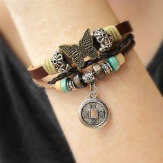 Bohemian Jewelry Leather Cuffs For Women by AmysLeatherLane