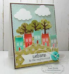Welcome to the Neighborhood Card by Joan Ervin #NewNeighbor, #HomeSweetHome, #Cardmaking