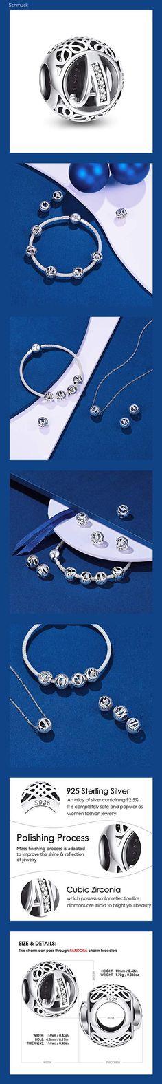 NINGAN Charm-Anhänger, 925 Sterlingsilber, Motiv: Buchstabe des Alphabets, für Armbänder, kompatibel mit europäischen Armbändern (Buchstabe A) - 14g6