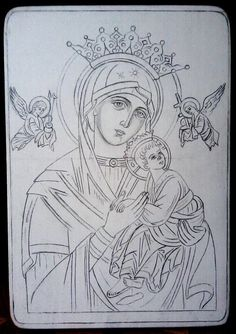 Our Lady of Perpetual Help? Christian Drawings, Christian Art, Byzantine Icons, Byzantine Art, Religious Icons, Religious Art, Writing Icon, Virgin Mary Art, Mary And Jesus