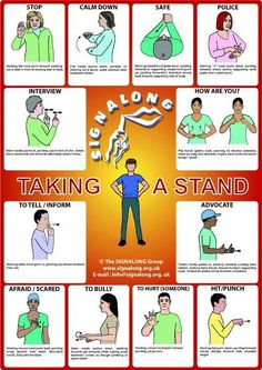 Taking a Stand signs (Defensive Words) - BSL (British Sign Language) Sign Language For Kids, Sign Language Phrases, Sign Language Interpreter, Sign Language Alphabet, British Sign Language, Learn Sign Language, Makaton Signs, Bullying Posters, Learn To Sign
