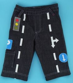 Traffic Pants. The white road markings are created with pieces of twill tape and the traffic lights are appliquéd using fabric scraps in various colors.