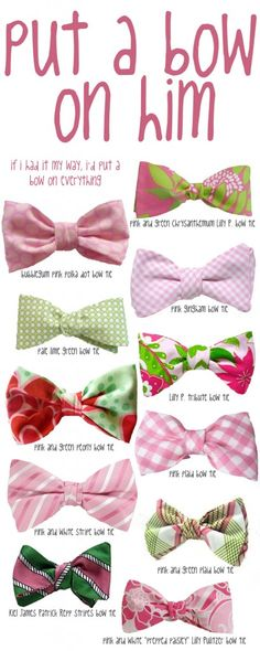 Put a bow on him! Pink and green southern preppy bow ties.