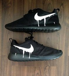 a9ea8a67e335b Nike Roshe Run Triple Black with Custom White by DenisCustoms Tenisky Nike
