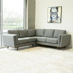 Ernest Modern Grey Corner Sectional Sofa Mod Furniture, Modern Furniture Stores, Affordable Furniture, Mid Century Modern Furniture, Corner Sectional Sofa, Corner Couch, Corner Sofa Dark Grey, Houston Houses, Fabric Sofa