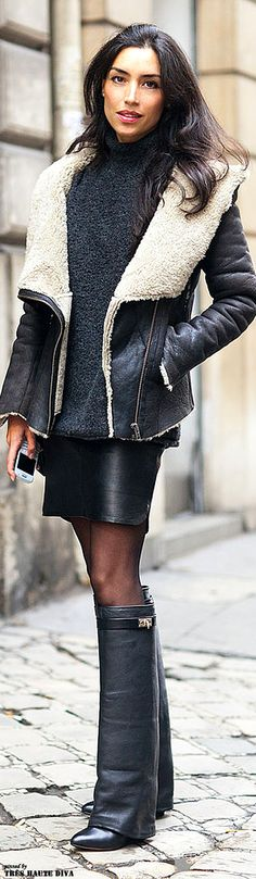 statement boots, shearling-lined jacket #fall #street #style