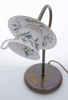 Swan neck desk lamp with vintage china teacup