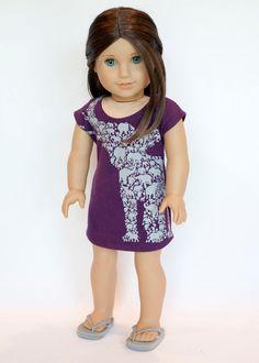 American Girl Doll upcycled elephant dress - purple by EverydayDollwear on Etsy