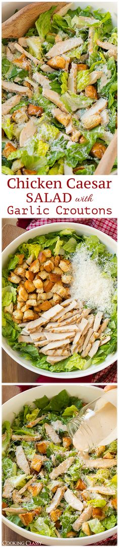 Chicken Caesar Salad with Garlic Croutons and Light Caesar Dressing - this salad is AMAZING. Simple but so delicious!
