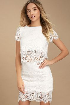 52cf9c9cfedd2 Live For the Night White Lace Skirt. White Lace Crop TopWhite ...