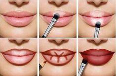 Lips full of make-up: this is how lip contouring and Lippen voller schminken: So gelingt es mit Lip-Contouring und Ombré-Lips! Full lips make up red light dark areas up - Lip Contouring, Contour Makeup, Makeup Art, Beauty Makeup, Makeup Ideas, Makeup Geek, Kids Makeup, Lip Tutorial, Lip Makeup Tutorial