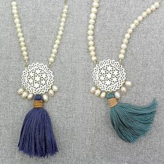 Long Pearl Tassel Necklace/ Pearl Mala Necklace with Carved Bone / Emerald / Navy