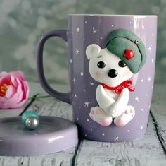 Ceramic mug with handmade polymer clay decor. 10 oz handmade decor is made from oven baked polymer clay brand Premo Decor from polymer clay glued to the cup, so a cup can be used as usual. . Wash with warm water by hand, do not put in the microwave and dishwasher.