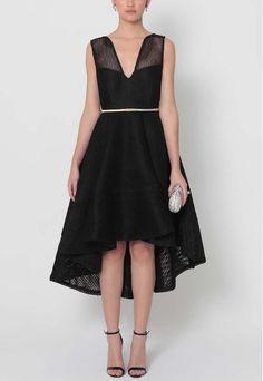 Vestido mullet floral preto