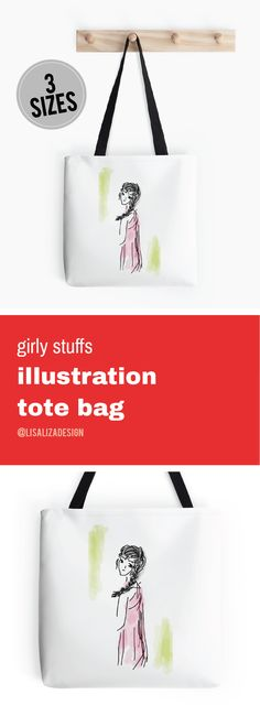 Pink Dress Lady Doodle  Girly stuffs Daily Lifestyle Illustration Tote Bag  Great gift ideas for women  (Also available in mugs, cups, shirts, duvet covers, acrylic block, purse,   wallet, iphone cases, baby onsies, clocks, Throw pillows, samsung cases   and pencil skirts.)  #Doodle #Illustration #Teens #WomenFashion #Giftideas #Present   #Grandma #Mom #Pouches #DrawstringBags #Holiday   #Holidaygifts #Lisaliza  #Womenfashion   #Teepublic #Redbubble #Bestfriend
