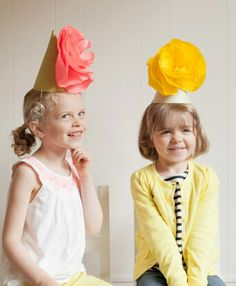 DIY: Giant Paper Flower Party Hats (oh Happy Day!} vintage paper doll party My mom's maiden name is Fox, and my grandparents have their enti.