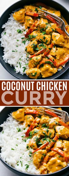 This coconut chicken curry can be made in one pot and is packed with delicious flavors! This curry can be made in 30 minutes or less making it the perfect weeknight dinner. Recipe via chelseasmessyapron dinner recipes healthy Coconut Chicken Curry Easy Healthy Dinners, Easy Dinner Recipes, Dinner Healthy, Healthy Desserts, Health Dinner, Dinner Ideas, Breakfast Recipes, Dessert Recipes, Healthy Thai Food