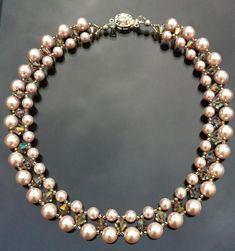 Necklace Swarovski Pearls with Crystals