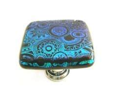 Turqoise Teal Aqua Stell Laser Etched Dichroic Glass Cabinet Knob. $34.00, via Etsy.