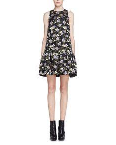 Alexander McQueen Floral Fil Coupe Drop-Waist Dress, Black