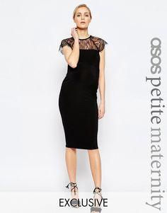 ASOS Maternity PETITE Lace Insert Bodycon Midi Dress