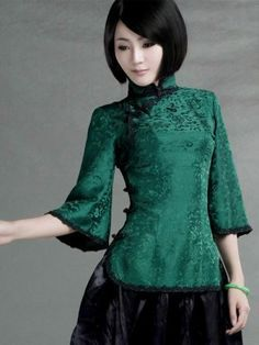 Green Silk Crop Sleeve Qipao Top / Chinese Blouse