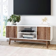 Nathan James Wesley Scandinavian TV Stand Media Console with White Frame and Rustic Oak Cabinet Doors 74403 - The Home Depot Coastal Living Rooms, Living Room Tv, Home And Living, Living Room Furniture, Furniture Decor, Unique Furniture, Living Area, Media Furniture, Furniture Movers