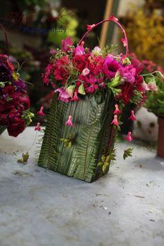fushia flower purse with dangling eucalyptus pods, Françoise Weeks