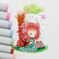 Oc Helena by @frappuchii Draw by me :D Sacar fotos a esta hora es horrible, la luz artificial arruina todo :'( Copic Drawings, Anime Drawings Sketches, Kawaii Drawings, Manga Drawing, Manga Art, Cute Drawings, Anime Chibi, Kawaii Chibi, Cute Chibi