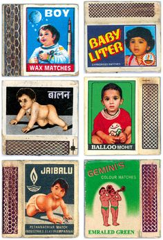 Vintage Indian Matchbook Labels (because when I think of matches, I think of babies!)