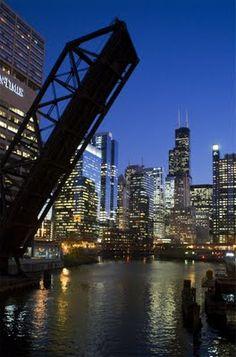 Crazy bridge in downtown Chicago