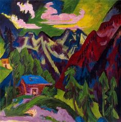 ernst ludwig kirchner | ... montagna Klosters, olio di Ernst Ludwig Kirchner (1880-1938, Germany