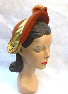 40's 50's Vintage Hat with Ribbons and Feather Pom Poms Cecile Kenosha.