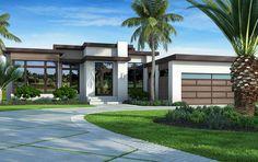 Modern House Floor Plans, Contemporary House Plans, Modern House Design, Flat Roof House Designs, Modern Home Exteriors, Interior Modern, Modern Houses, House Plans One Story, One Story Homes