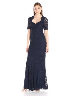 Decode 1.8 Women's Glitter Lace Short Sleeve Mermaid Gown, Navy, 8. Sweetheart neckline and scalloped sleeves. Mermaid style.