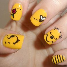 Inspiring Disney Nails Ideas For You To Try Inspiring Disney Nails Ideas For You To Try,Trendy Nail Art A Cute Winnie the Pooh Nails ❤️ Simple and easy acrylic or gel Disney nails design. Nail Art Disney, Disney Acrylic Nails, Disney Nail Designs, Acrylic Nail Designs, Cartoon Nail Designs, Simple Disney Nails, Simple Nails, Acrylic Art, Easy Disney Nails