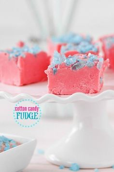 Cotton Candy Fudge recipe.  This Cotton Candy fudge tastes perfectly like cotton candy! The pink and blue colors are a pretty addition to any party.  A great gift idea for a summer or winter party!  Click here to get the recipe!