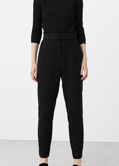 Spodnie z odpinanym paskiem - Spodnie dla Kobieta   MANGO Polska