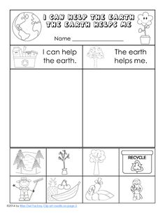 I can help the earth, the earth helps me, sorting, cut and paste page for K-1