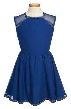 Miss Behave 'Emma' Ribbon Trimmed Illusion Skater Dress (Big Girls) available at #Nordstrom