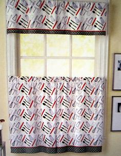 Cutlery Red Black White Fork Knife Spoon 36L Tiers Valance Kitchen Curtains  Set. $29.99