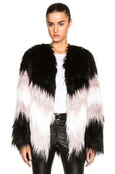 Image 1 of MSGM Short Chevron Faux Fur Jacket in Black