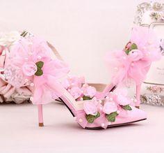 Pearl Womens Flower Satin Pointed Toe High Heel Bling Rhinestone Wedding Shoes E