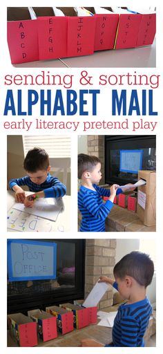 LOVE this mail sorting, learning fun. Would be great for ABC/writing center OR for dramatic play area! Community Helpers Preschool, Kindergarten Literacy, Early Literacy, Preschool Classroom, Preschool Learning, Educational Activities, Fun Learning, Learning Letters, Toddler Activities