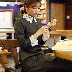 Lace-Collar Lace-Cuff Shift Dress