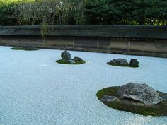 Karesansui garden at Ryoanji complex one of the most famous dry gardens