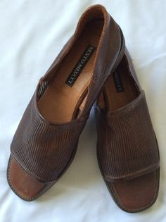 Women's Sandals Sesto Meucci 6.5 N Brown Woven Mesh Top Leather