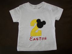 Mickey Mouse Birthday T-Shirt...Party Idea...Photo Prop. $20.00, via Etsy. I so want to get this!